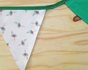 Flamingo Print Green Fabric Bunting - 2.5m