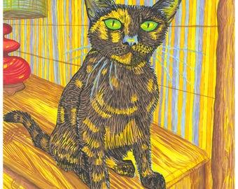 Cat Print, Cute Cat, Hawaii Cat, Colorful Cat, Cat Portrait, Brown Cat.