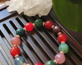 12mm Multicolor Cracked Agate Yoga Mala Beaded Bracelet. Healing Natural Gemstone Bracelet. Stretch Bracelet. Boho Bracelet.