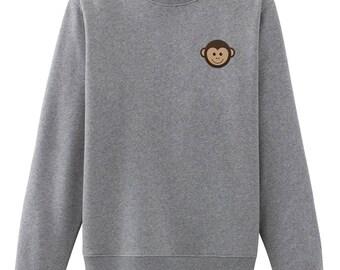 Monkey Embroidered Sweatshirt Cute Sweatshirt