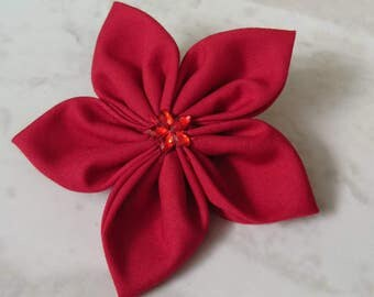 Red Flower Clip - Red Hair clips - Red Hair Accessories - Fower hair clips - red brooch - handmade gifts - hair bows - gifts for girls