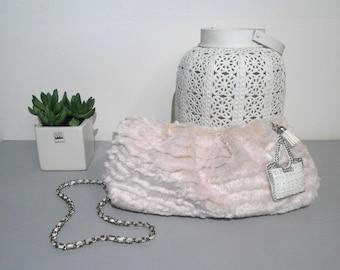 Evening Bag, Shoulder Bag, Fur Bag, Pink Handbag, Pendant Necklace, Evening Bag, Bags & Handbags, Women's Handbags.