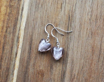 Light Pink Murano Glass Heart Dangle Earrings