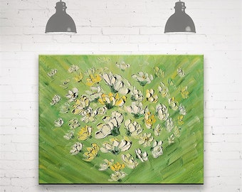 White Flowers Daisies Original Oil Painting on Canvas Palette knife Daisies Wall Decor Art by Zoya Well