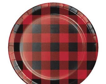 8 CT Plaid Small Paper Plates/ Buffalo Plaid Paper Plates/ Lumberjack Party Plates/ Red and Black Plaid Party