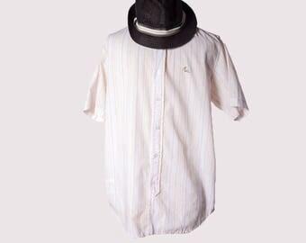 Striped  shirt•Mens summer shirt•Button down shirts•Short sleeve shirt•90s clothing men•Mens shirt•Mens button up shirt•90 hipster shirt