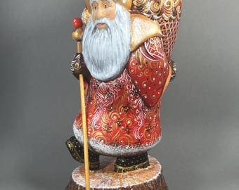 """Wooden Russian Santa with Detailed Ornament (Father Frost, Ded Moroz) Red/Gold  12"""" Hand carved / painted Christmas decoration Collectible"""
