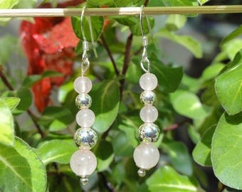 Soaz - Stone quartz pink and Silver earrings 925 massif