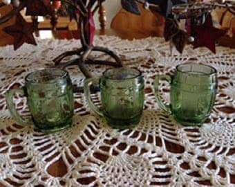3 Green Hazel Atlas Mini Whiskey Barrell Shot Glasses