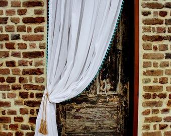 "Two white Linen Pom Pom curtains 52""-100% Linen curtains- 3 colors- Pom Pom panels-Available colors pom pom-Choose your length #Hide n'Seek#"