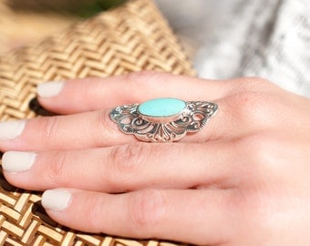 Turquoise Ring ~ Sterling Silver 925 ~ Handmade ~ Everyday ~ Statement ~ Fifigree ~Gift for her ~Boho ~Hippie ~ Bohemian ~ Jewelry MR005