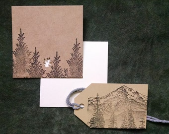 Hand Stamped Mount Hood Gift Tag and Mini Card Set