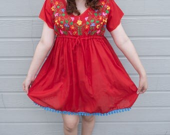 Dress, Cherry Red Embroidered Mexican Short Dress, Oaxacan Dress, Floral Embroidered, Hand Embroidered, Summer Dress