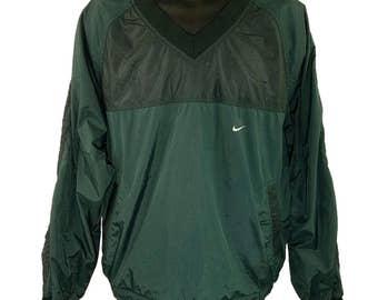 Nike Windbreaker Jacket Vintage 90s Green Pullover V Neck Mens Size Large