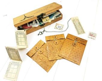 Mini Envelope Set / String Tie envelopes / Button closure envelopes / Snail Mail envelopes / Junk journal envelopes / Leather envelope (I)