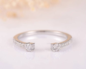 Open Eternity Band Wedding Band Woman White Gold Stacking Conflict Free Diamond Cuff Ring Wedding Bridal Ring Set Matching Unique Minimalist
