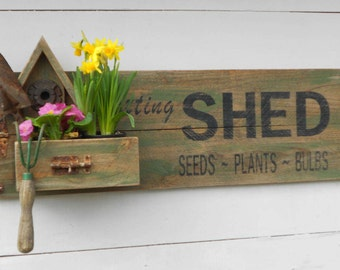 Potting Shed Sign with Birdhouse & Planter