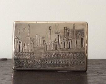 Antique Persian Sterling Silver Cigarette Case / WWII / Polish Veteran / Poland