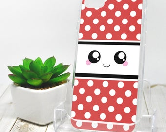 Kawaii Smile iPhone 7 Case - Red and White Polka Dot - iPhone 7 Plus Case