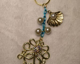 Blue and Gold Sea Keychain