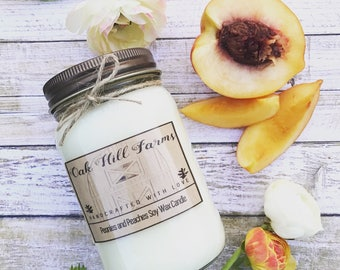 PEONIES AND PEACHES, soy wax candle, fresh fragrance, hand poured, all natural, mason jar candle, peaches, peonies, sweet, spring, summer