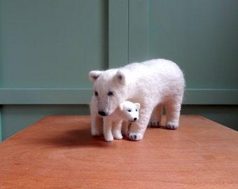 needle felted polar bear with cub ooak arctic animals baby bear handmade felt fieltro feutre