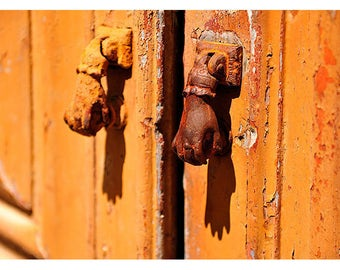 Vintage Hand Door Knockers - Orange Front Door - Architectural Ironmongery - Portuguese - Portugal Photography - Travel Europe Photography