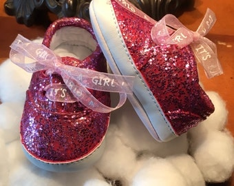Custom Newborn Baby Girl/It's A Girl! Shoes, Newborn Glitter Shoes, Newborn Booties, Newborn Glitter Booties