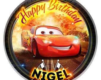 Cars Lightning Mcqueen Inspired Personalised Edible Icing. Birthday Cake Topper Decoration 7.5""