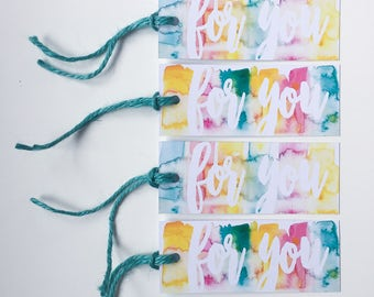 4 x 'for you' watercolour gift tags / 4 pack / gift labels / swing tags / twine
