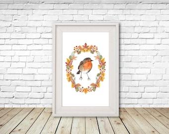 Watercolour Robin Print, Illustration, Wall Art, Drawing A4, A5