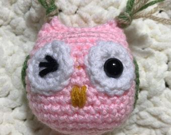 Handmade Crochet Amigurumi Small Owl Ornament Keychain