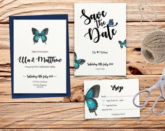 Turquoise & Blue Butterfly Printable Wedding Invitation Set