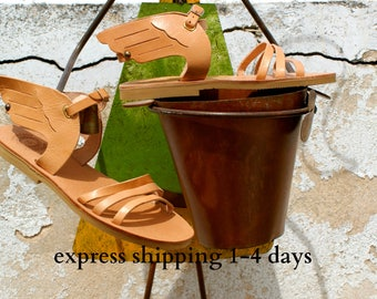 IKARUS girls leather sandals/ kids leather sandals/ girls wings sandals/ greek leather sandals/ handmade girls shoes/ strappy sandals