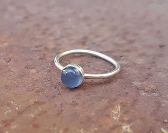 Chalcedony & Eco Sterling Silver ring