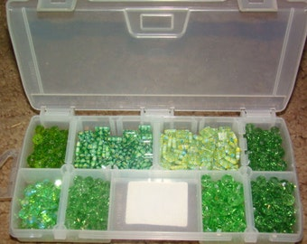 SALE Nice 1 Pound Lot of Various Green Glass Beads