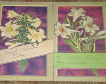 2 Pretty Embossed Easter Postcards (Lillies)