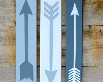 Painted Arrows - Set of 3 - hand painted, solid wood - home decor - gift - wall decor