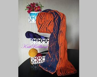 Hand Knit scarf - Double color brioche scarf