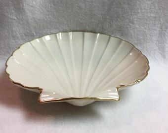 Lenox Gold Rimmed Seashell Dish (#017)