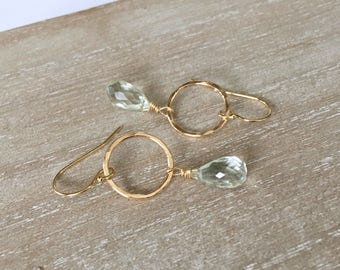 14K PRASIOLITE CIRCLE Earrings gold filled, dainty minimalist, green facet gemstone, everyday earrings, gift for her, by Little Motives