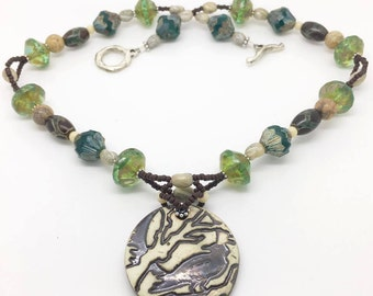 Ceramic Raven Pendant, Sterling Silver Branch Toggle Clasp, Czech Glass, Picture Jasper, Etched Agate and Bali Silver Beads.