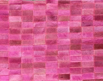 Pink Cowhide Patchwork Rug | Free Shipping