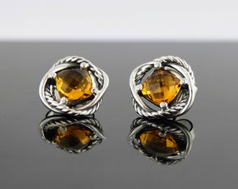 David Yurman Sterling Silver Infinity Stud Earrings with Citrine