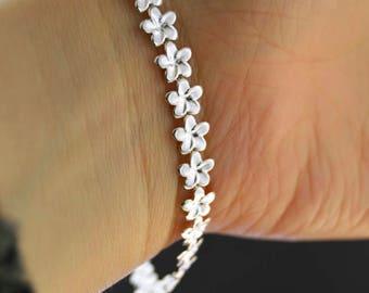 Floral 925 sterling silver bracelet (necklace + bracelet set available)