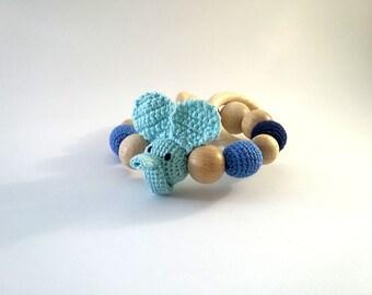 Blue elephant Rattle Baby Shower gift Baby Teething Toy  Blue rattle Mouse rattle  Baby Teether Wooden beads rattle Organic teething ring