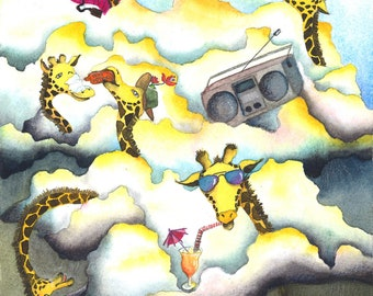 WATERCOLOR PAINTING PRINT - Giraffes party above the clouds - Fine art