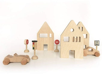 Wooden Toy Houses / Decoration / NUrsery Decor / Set of 3 and Street