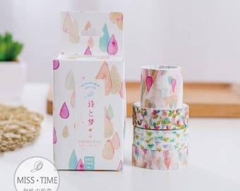 4 Pc Set ~ Poetry & Dream Washi Tape ~ Pastel Washi Tape, Masking Tape, Scrapbooking, Planner Stickers, Decorative Stickers, Cute Washi Tape