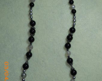Sterling Silver Horn Necklace with Gray and Black Beads